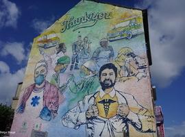 Inauguration d'une fresque en hommage aux soignants à Ixelles